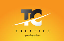 TC T C Letter Modern Logo Design with Yellow Background and Swoo. TC T C Letter Modern Logo Design with Swoosh Cutting the Middle Letters and Yellow Background Royalty Free Stock Image