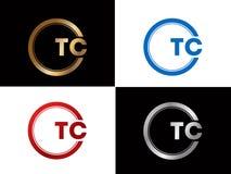 Tc-Textgoldschwarze silberne moderne kreative Alphabetbuchstabelogoentwurfs-Vektorikone stock abbildung