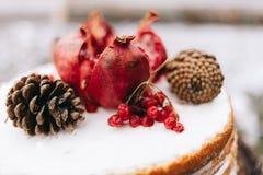 Tcake marrone fatto a mano di biscui decorato con i dolci del cono e del granate con crema fotografie stock libere da diritti