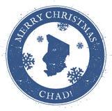 Tchad översikt Glad jul Chad Stamp för tappning Royaltyfri Bild