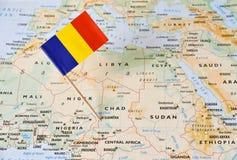 Tchad flaggastift på översikt Arkivbild