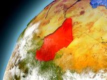 Tchad från omlopp av modellen Earth Royaltyfria Foton