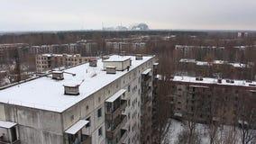 Tchernobyl, pripyat, reactor De winter 2014 stock video