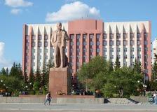 Tchita, RU - Jul17 2014: Het monument van Lenin op het centrale vierkant de rand in van Tchita, Transbaikalië Stock Fotografie