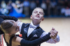 Tchizhik Svyatoslav and Lepko Veronika perform Juvenile-1 Standard European program Royalty Free Stock Photos