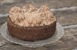 TChocolate蛋糕用被刮的巧克力大卷毛装饰毗邻与打好的奶油 免版税库存照片