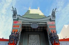 TCL Chinese theatre, Hollywood, California. The beautiful historical building landmark of the TCL Chinese Theatre under the blue sky of Hollywood, California stock photo