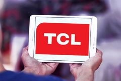 TCL Corporation logo. Logo of TCL Corporation on samsung tablet . TCL is a Chinese multinational electronics company Stock Photos