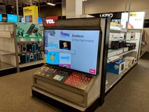 TCL Roku TV on display at Best Buy royalty free stock photography