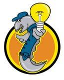 Técnico eléctrico Holding Light Bulb de la anguila con el fondo del círculo Fotos de archivo libres de regalías