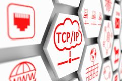 TCP IP concept. Cell blurred background 3d illustration Stock Photo