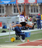 TCU ladies long jumper flies through the air Royalty Free Stock Image
