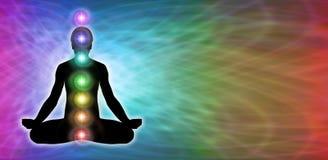 Tęczy Chakra medytaci strony internetowej sztandar Obraz Stock
