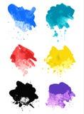 Tęczy pluśnięcia akwareli farby splatters Obraz Stock
