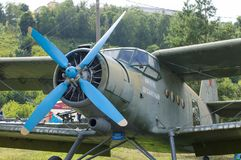 AN-2 TD Airplane for dropping paratroopers on the ground. It was used for training purposes for jumping with a parachute. Russia. stock images