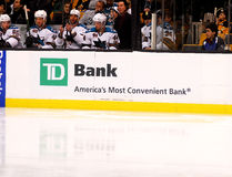 TD Bank on hockey dasher Stock Photo
