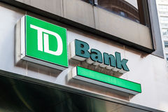 TD Bank sign. New York, November 23, 2016: A TD Bank sign over one of the bank`s branch in New York City royalty free stock photo