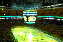 TD Garden set up for Bruins hockey. View of the TD Garden rink prior to Oct, 28, 2010 game between the Bruins and the Toronto Mapleleafs Royalty Free Stock Images