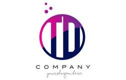TD T D Circle Letter Logo Design with Purple Dots Bubbles Stock Photos