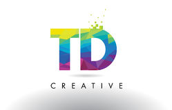 TD T D Colorful Letter Origami Triangles Design Vector. Stock Images