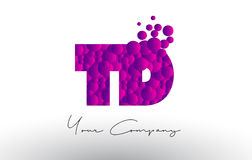 TD T D Dots Letter Logo with Purple Bubbles Texture. Royalty Free Stock Photography