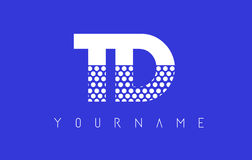 TD T D Dotted Letter Logo Design with Blue Background. Royalty Free Stock Photo