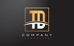 TD T D Golden Letter Logo Design with Gold Square and Swoosh. Stock Photo