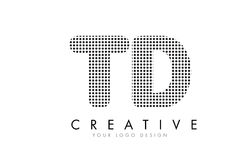 TD T D Letter Logo with Black Dots and Trails. Stock Image