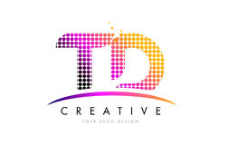 TD T D Letter Logo Design with Magenta Dots and Swoosh Royalty Free Stock Image