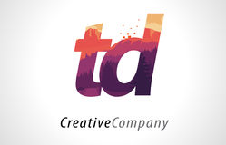 TD T D Letter Logo Design with Purple Forest Texture Flat Vector Royalty Free Stock Images