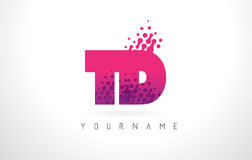 TD T D Letter Logo with Pink Purple Color and Particles Dots Des Royalty Free Stock Images
