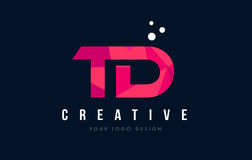 TD T D Letter Logo with Purple Low Poly Pink Triangles Concept Royalty Free Stock Image
