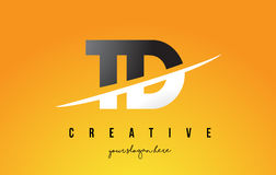 TD T D Letter Modern Logo Design with Yellow Background and Swoo. TD T D Letter Modern Logo Design with Swoosh Cutting the Middle Letters and Yellow Background Royalty Free Stock Photos