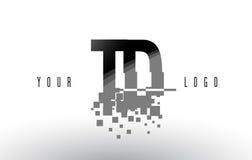 TD T D Pixel Letter Logo with Digital Shattered Black Squares Royalty Free Stock Photo
