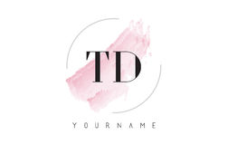 TD T D Watercolor Letter Logo Design with Circular Brush Pattern Royalty Free Stock Images