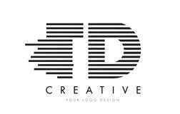 TD T D Zebra Letter Logo Design with Black and White Stripes Royalty Free Stock Image