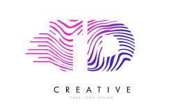 TD T D Zebra Lines Letter Logo Design with Magenta Colors Royalty Free Stock Photo