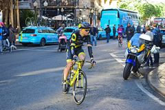 TDE Direct Energie Rider In The Streets Of Alicante. The Teams rider in the street before the start the Vuelta a Valencia bike race in Alicante Spain royalty free stock photo
