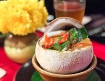 TDelicious food from Chiang mai, Thailand. Delicious food from Chiang mai, Thailand.Make containers out of coconut shells royalty free stock image