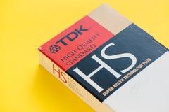 TDK VHS videokassett, retro video teknologi Royaltyfri Fotografi