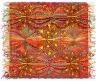 Teça a tapeçaria colorida com teste padrão listrado ondulado, applique das borboletas ilustração royalty free