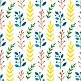 与五颜六色的叶子和分支的水彩无缝的样式 手油漆传染媒介季节性背景 能为包裹, te使用 库存图片