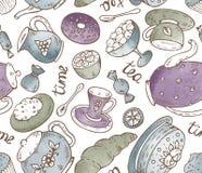 与乱画元素和水彩te的茶时间无缝的样式 库存图片