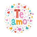 Te Amo -我爱你在浪漫设计上写字的西班牙语 库存照片