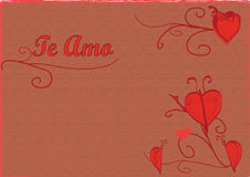 Te Amo. Valentines Card with Heart Butterfly and Decorative Elements stock illustration