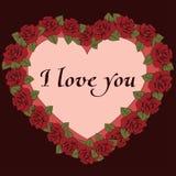 Te amo bandera Marco del vintage un en forma de corazón con las flores y la etiqueta de las rosas para el texto Tarjeta, reconoci Imagenes de archivo
