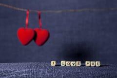 Te amo con los corazones Foto de archivo