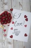 Te amo concepto con los corazones brillados Imagen de archivo libre de regalías