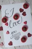 Te amo concepto con los corazones brillados Imágenes de archivo libres de regalías