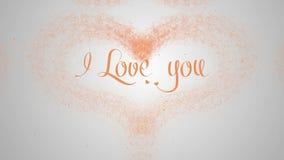 Te amo confesi?n del amor El coraz?n del d?a de tarjeta del d?a de San Valent?n hizo de chapoteo anaranjado est? apareciendo r stock de ilustración